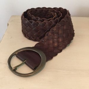 Banana Republic Wide Brown Leather Braided Belt XS